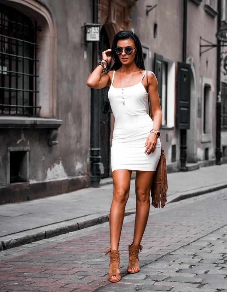 Dámske letné šaty na ramienka (Dámske letné šaty na ramienka,biele)