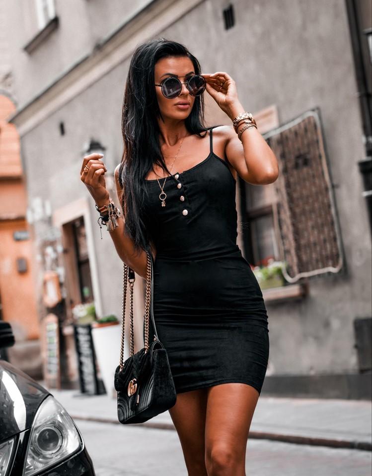 Dámske letné šaty na ramienka,čierne (Dámske letné šaty na ramienka,čierne)