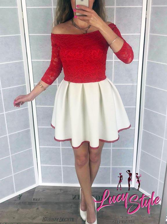 Dámske spoločenské šaty ,červeno biele (Dámske krátke spoločenské šaty ,červeno biele)