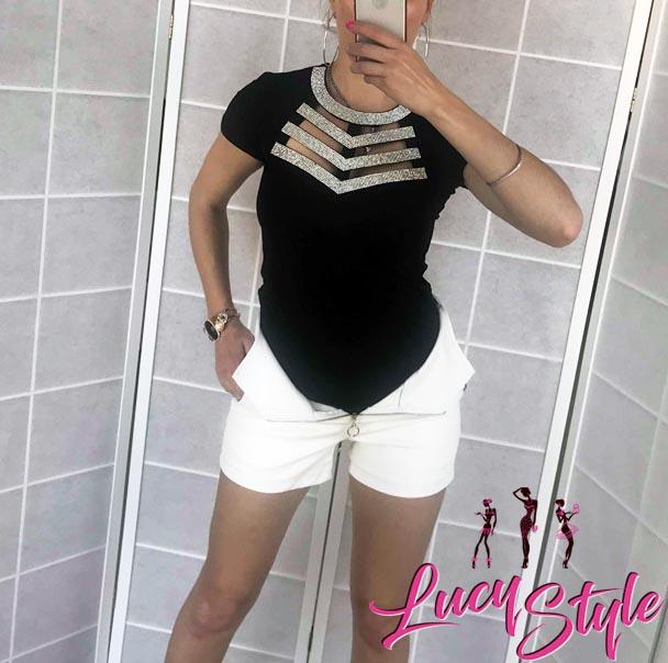 53a028d085 Elegantné dámske tričko s kamienkama