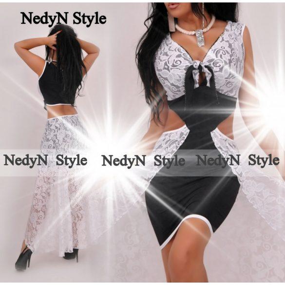 Dámske čierno biele šaty s čipkou (Dámske čierno biele šaty s čipkou)