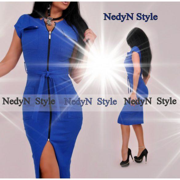 Dámske elegantné šaty na zips,modré (Dámske elegantné šaty na zips,modré)