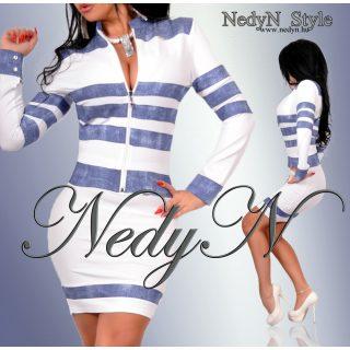 Dámske bielo modré šaty (Dámske biele šaty na zips s modrými pásikmi)