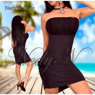 Dámske čierne šaty bez ramienok (Dámske čierne šaty bez ramienok)
