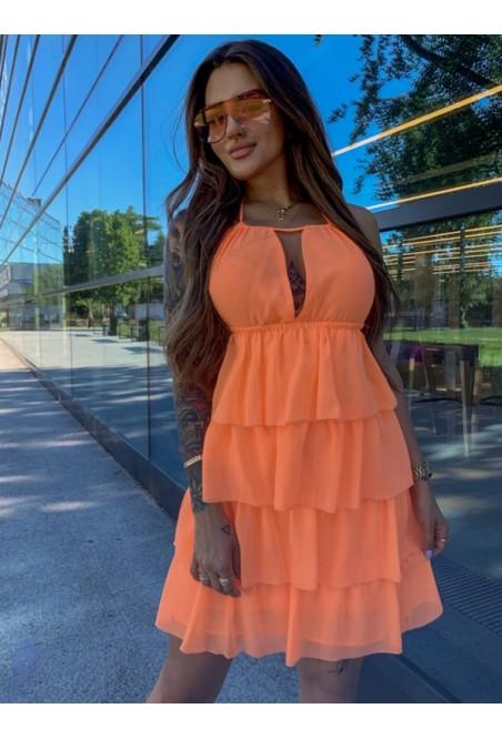 Dámske šaty s volánikmi (Dámske šaty s volánikmi,neonovo oranžové)