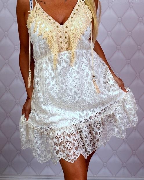 Krásne čipkované šaty ,biele (Štýlové dámske čipkované šaty ,biele)