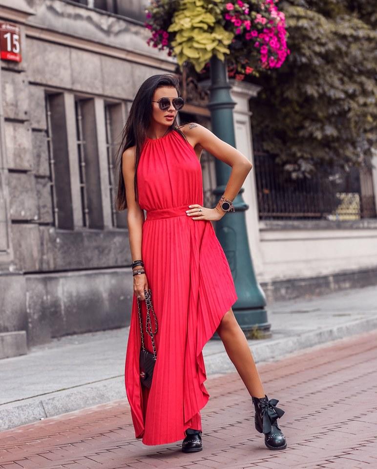 Dámske maxi šaty ,červené (Dámske maxi šaty ,červené)