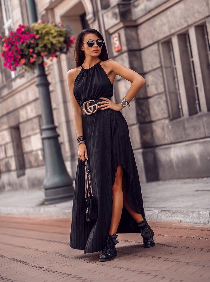 Dámske čierne maxi šaty (Štýlové dámske čierne maxi šaty )