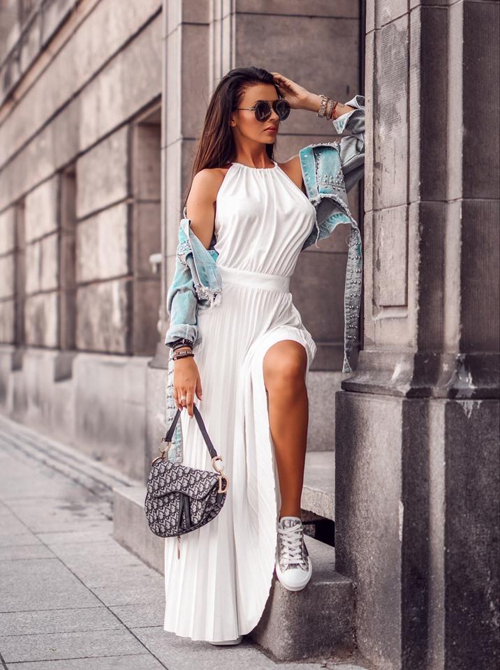 Dámske maxi šaty ,biele (Stýlové dámske maxi šaty,biele)