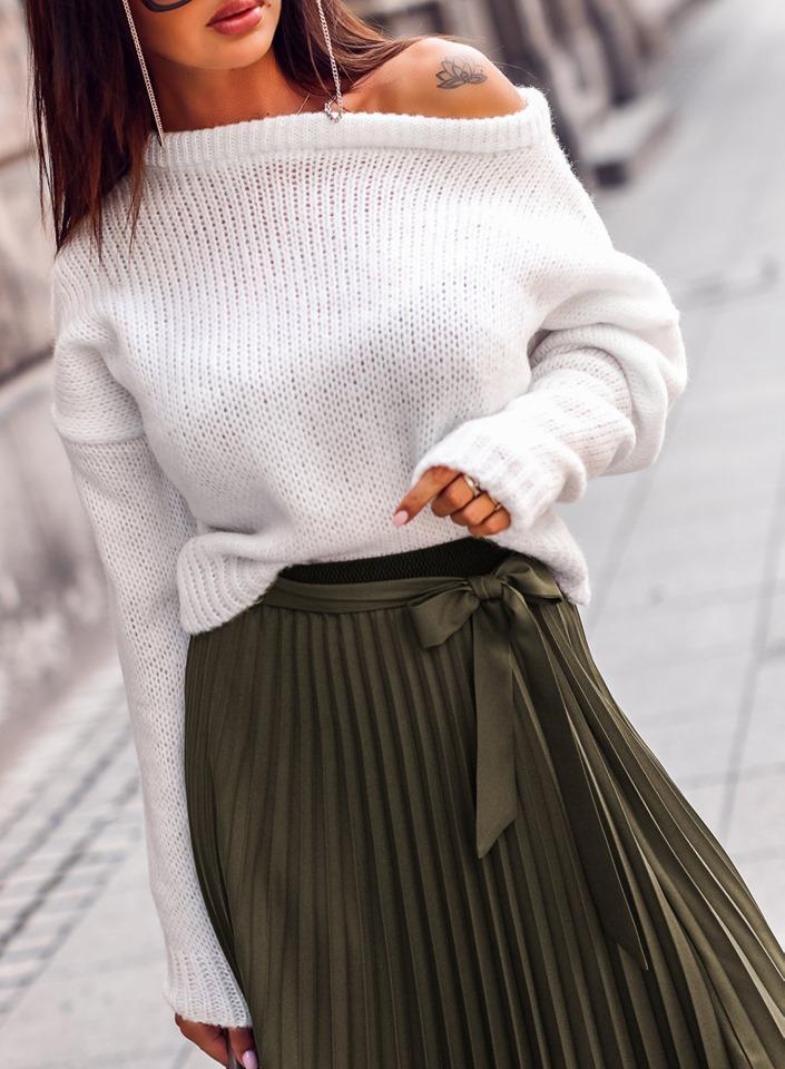 Dámsky biely sveter (Štýlový dámsky sveter)