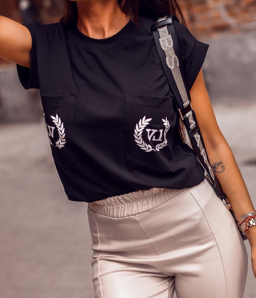 Dámska čierna blúzka s krátkym rukávom,LV (Čierna dámska čierna blúzka s krátkym rukávom,LV)