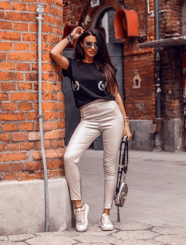 Dámske koženkové nohavice ,béžové (Dámske koženkové nohavice ,béžové)