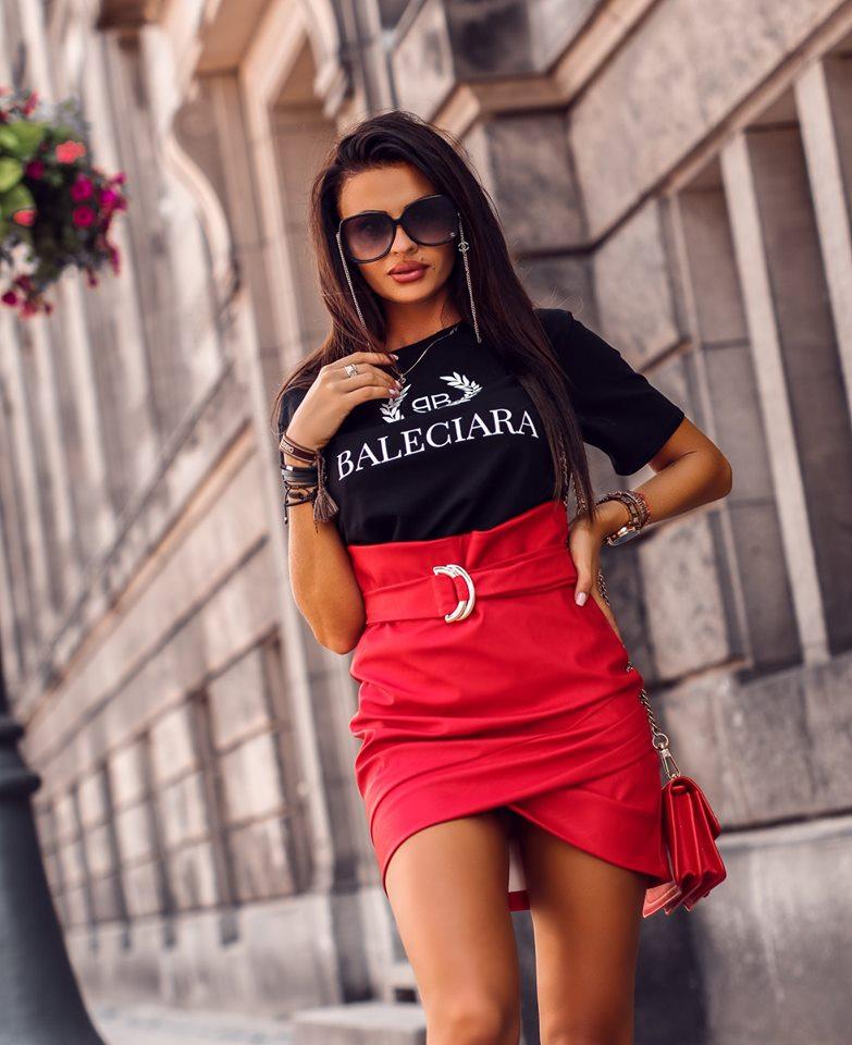 Dámska sukňa s opaskom,červená (Dámska sukňa s opaskom,červená)