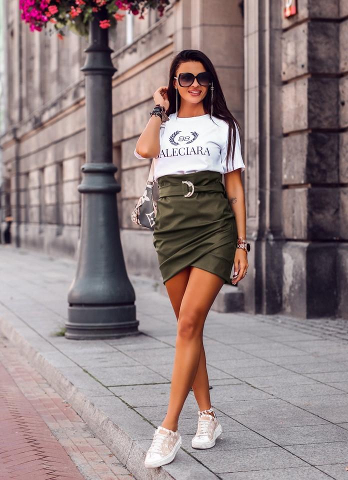 Štýlová dámska sukňa s opaskom,khaki (Štýlová dámska sukňa s opaskom,khaki)