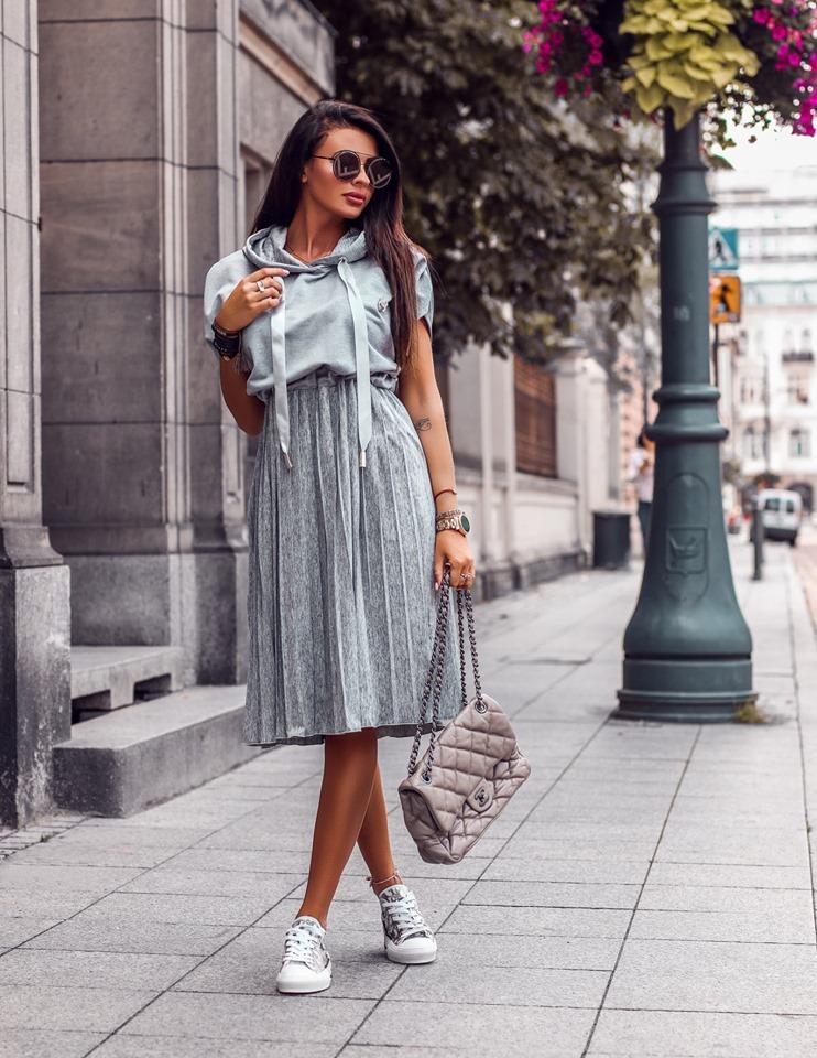 Štýlové dámske šaty ,sivé (Štýlové dámske šaty ,sivé)