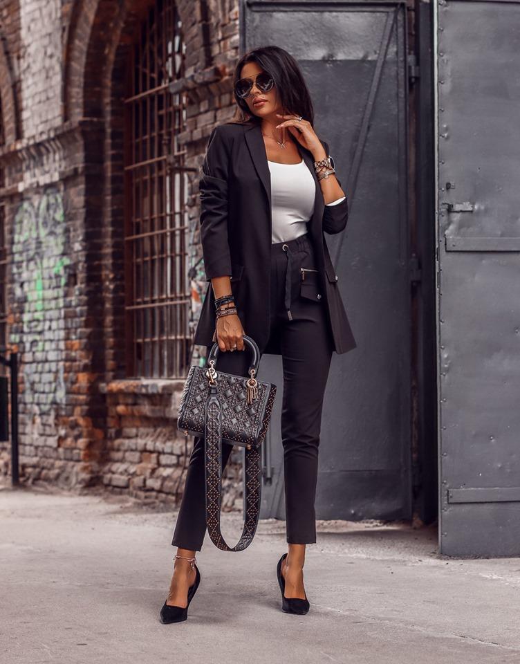 Dámsky nohavicový kostým (Štýlový dámsky nohavicový kostým,čierny)