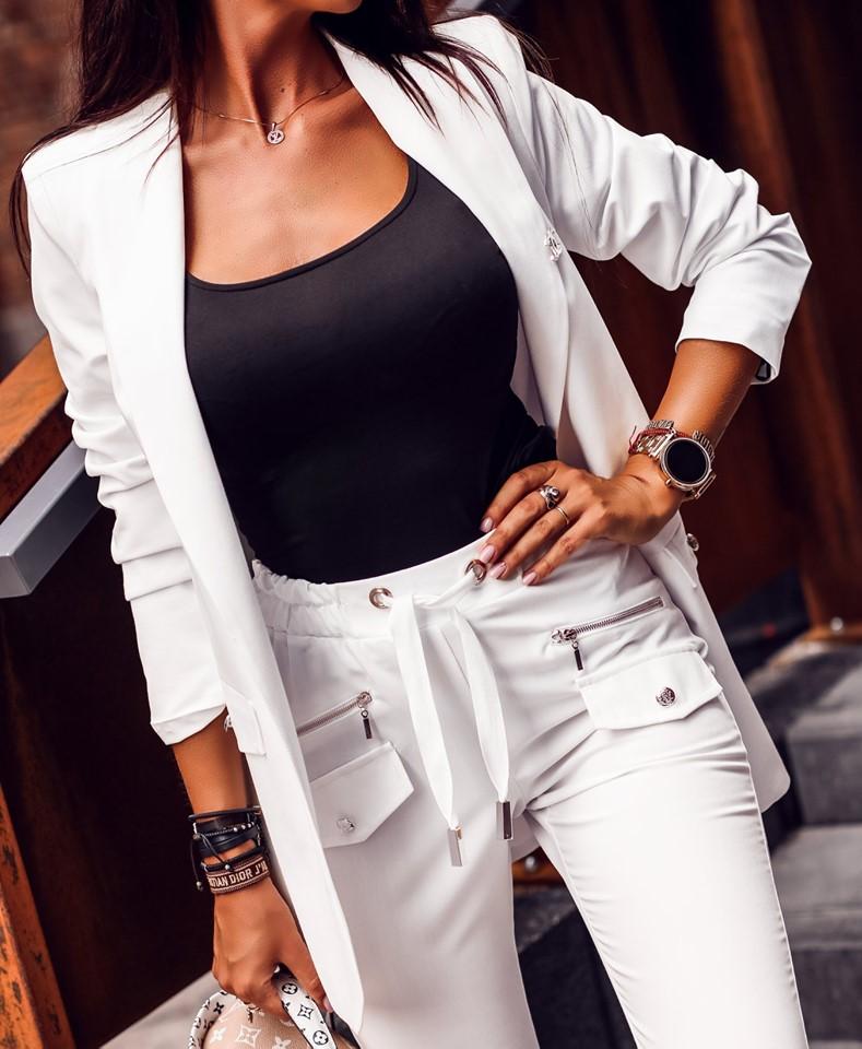 Dámsky biely nohavicový kostým (Dámsky biely nohavicový kostým)