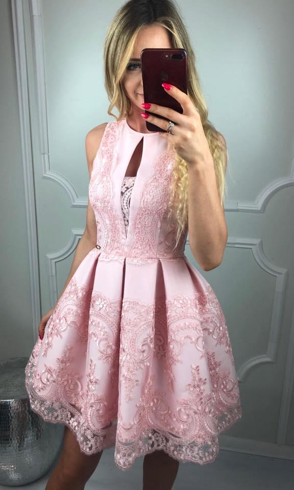 Dámske spoločenské šaty, ružové s krajkou (Dámske spoločenské šaty, ružové s krajkou, krátke)