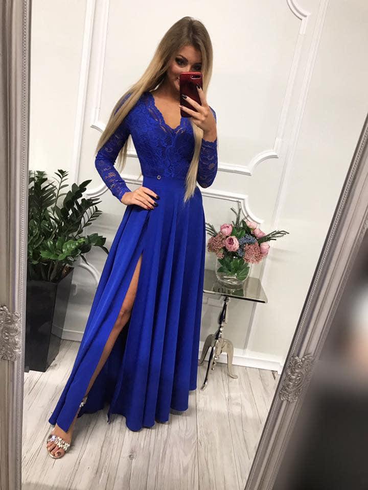 Dámske spoločenské modré šaty s čipkou (Dámske spoločenské modré šaty s čipkou)