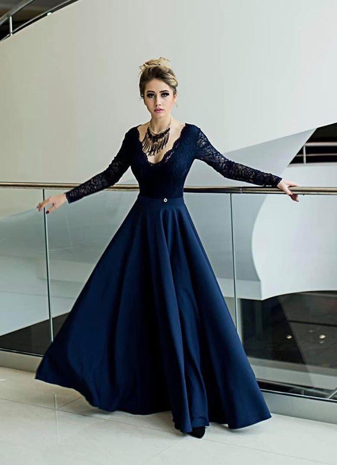 Dámske spoločenské šaty ,tmavo modré (Dámske spoločenské šaty ,tmavo modré)