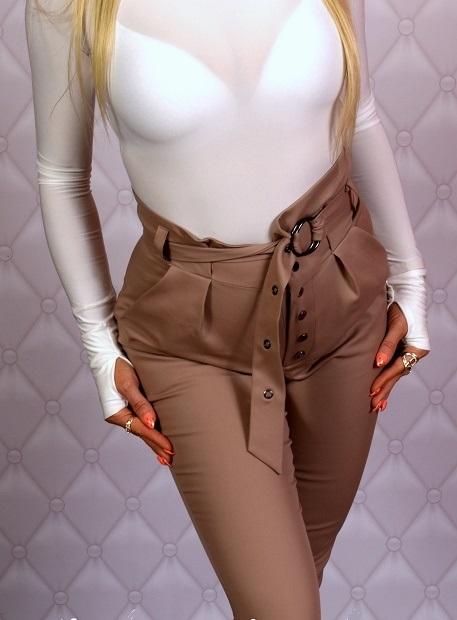 Dámske nohavice s vysokým pásom ,hnedé (Luxusné dámske nohavice s vysokým pásom,hnede)