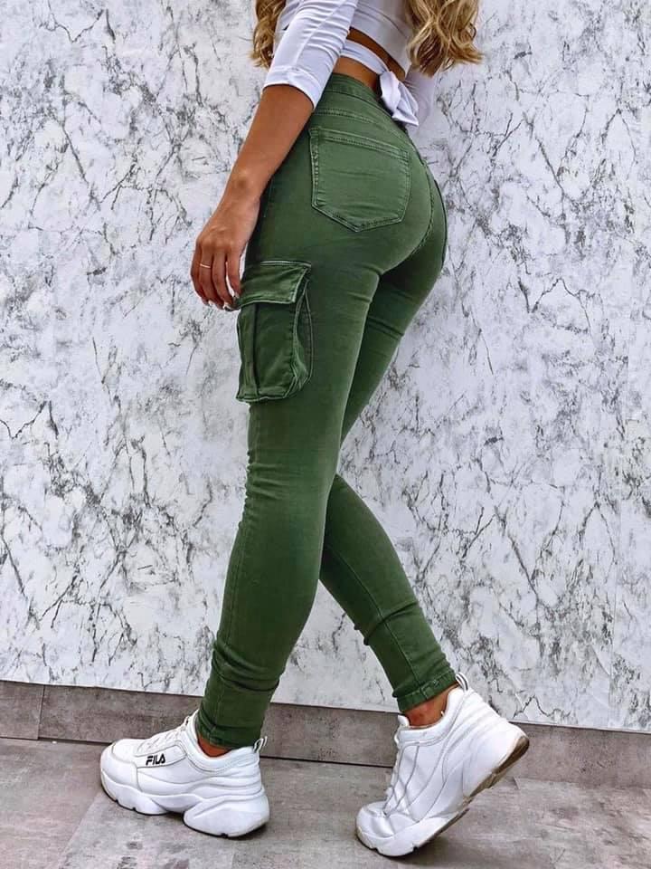 Dámske elastické nohavice (Štýlové dámske elastické nohavice,kapsačové)