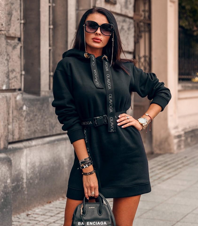 Štýlové dámske mikinové šaty ,čierne (Štýlové dámske mikinové šaty ,čierne)