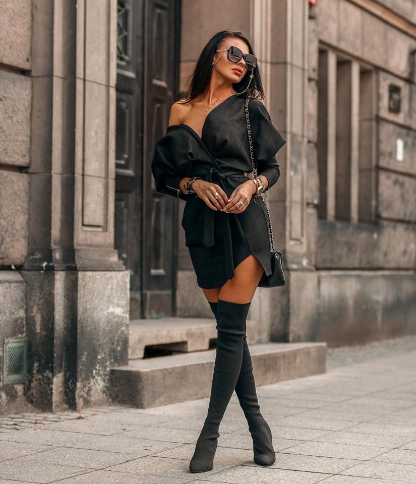 Čierne dámske jesenné šaty (Luxusné a trendy dámske jesenné šaty, čierne)