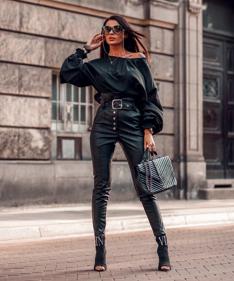Dámske koženkové nohavice s vysokým pásom,čierne (Dámske koženkové nohavice s vysokým pásom,čierne)