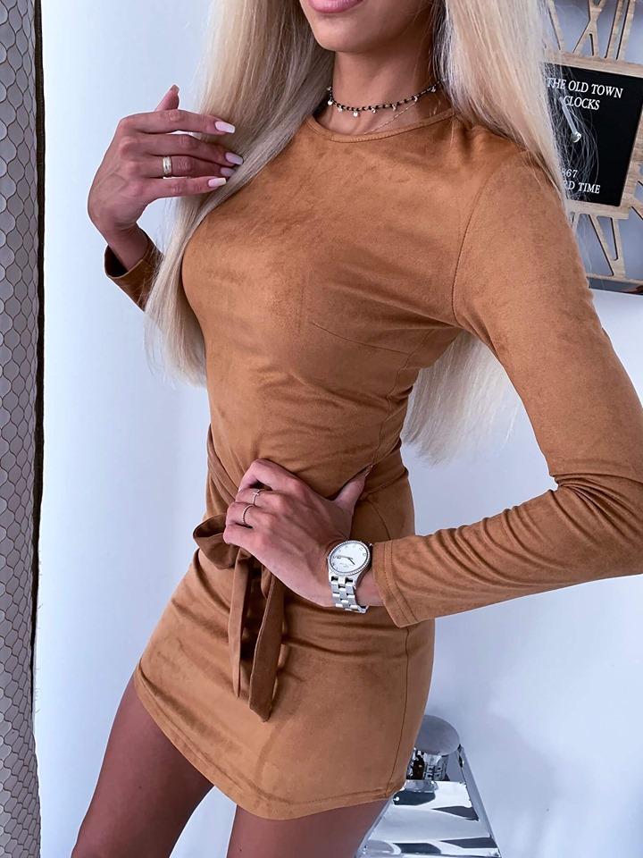 Dámske šaty s dlhým rukávom (Štýlové a jednoduché dámske šaty s dlhým rukávom)