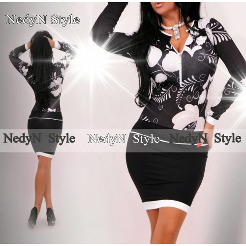 Dámske vzorované šaty,bielo čierne (Dámske vzorované šaty,bielo čierne)
