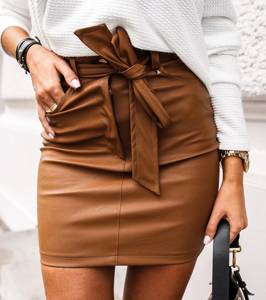 Dámska koženková sukňa, hneda (Dámska koženková sukňa, hneda)