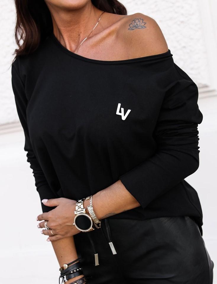Dámske čierne tričko (Trendy dámske tričko, čierne)