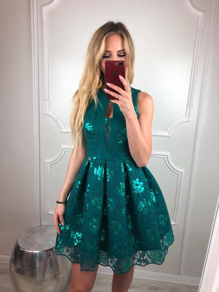 Dámske spoločenské krátke šaty , (Dámske spoločenské krátke šaty, zelené)