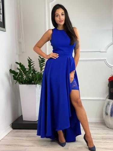 Dlhé spoločenské šaty v modrej farbe (Dlhé spoločenské šaty v modrej farbe s rozparkom)