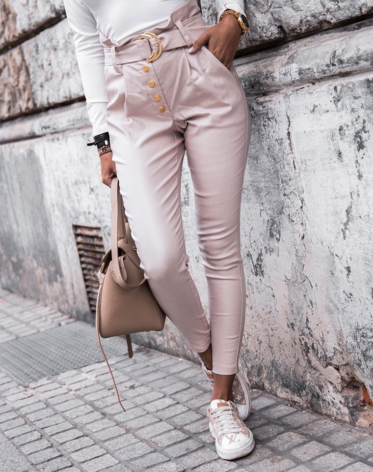 Dámske nohavice s vysokým pásom,krémové (Dámske nohavice s vysokým pásom,krémové)