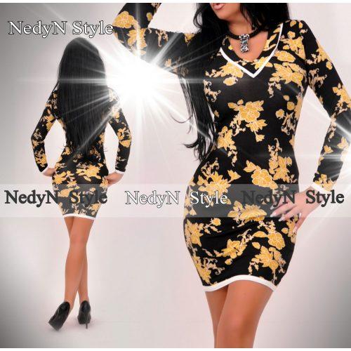 Dámske šaty (Dámske vzorované šaty žlto čierne)