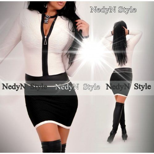 Dámske šaty s dlhým rukávom,bielo čierne (Dámske šaty s dlhým rukávom,bielo čierne)