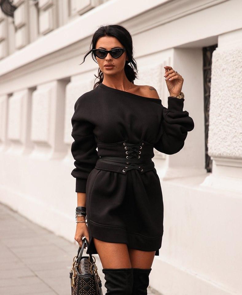 Dámske mikinové šaty s opaskom,čierne (Dámske mikinové šaty s opaskom,čierne)