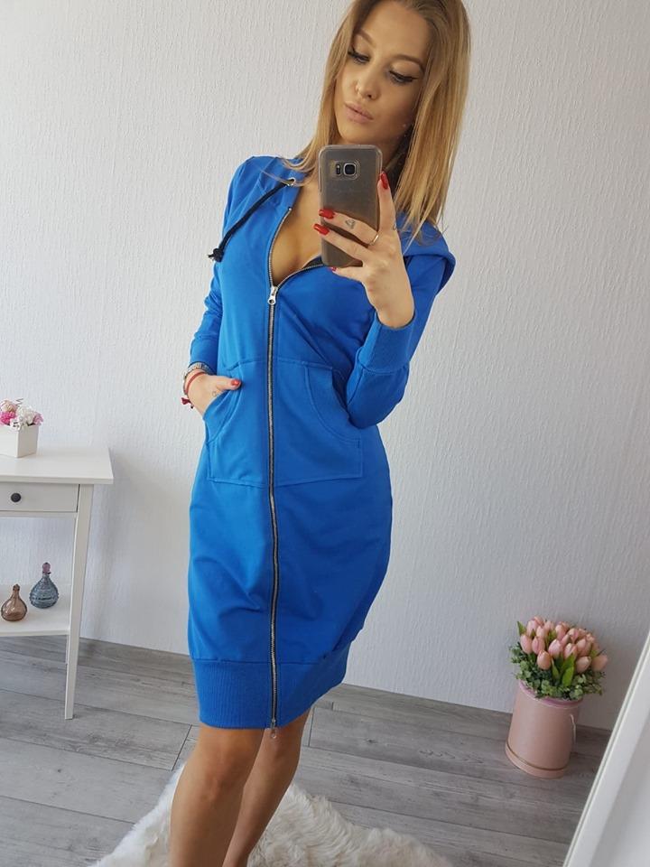 Dámske mikinové šaty,modré (Štýlové dámske mikinové šaty ,modré)