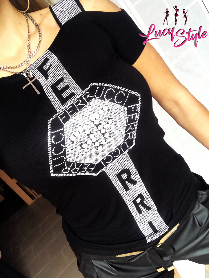 Dámske tričko s kamienkama,čierne (Dámske tričko s kamienkama,čierne)
