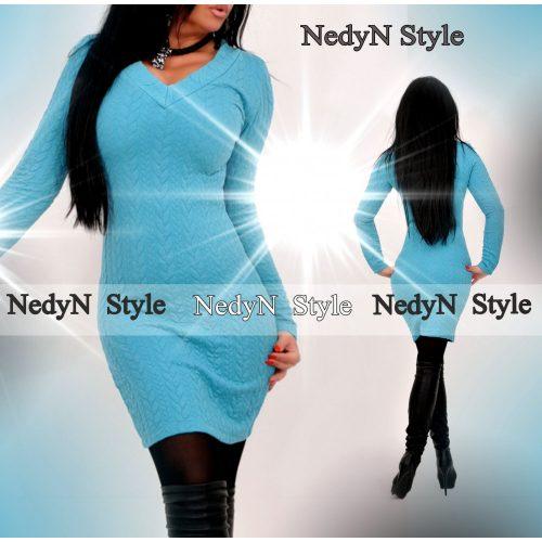 Dámske tyrkysové šaty s dlhým rukávom (Dámske tyrkysové šaty s dlhým rukávom)