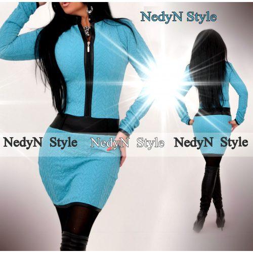 Dámske tyrkysové šaty na zips (Dámske tyrkysové šaty na zips)