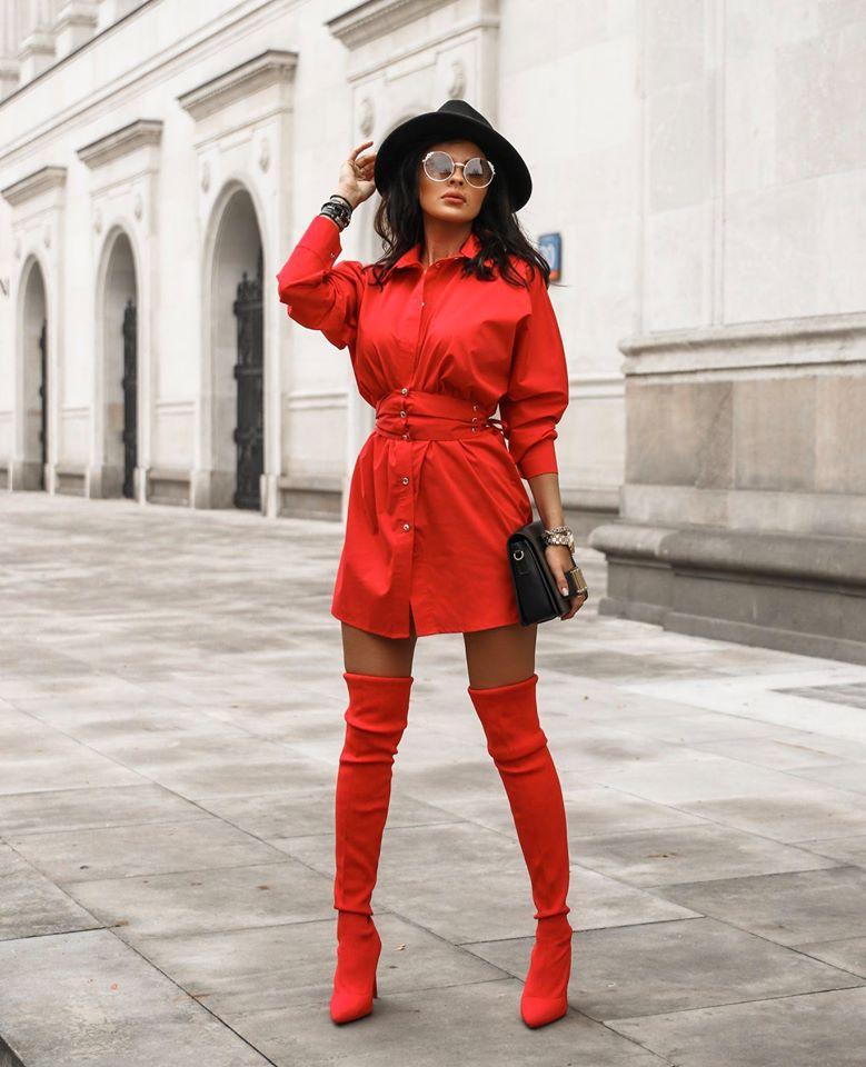 Dámske košeľové šaty ,červené (Dámske košeľové šaty ,červené)