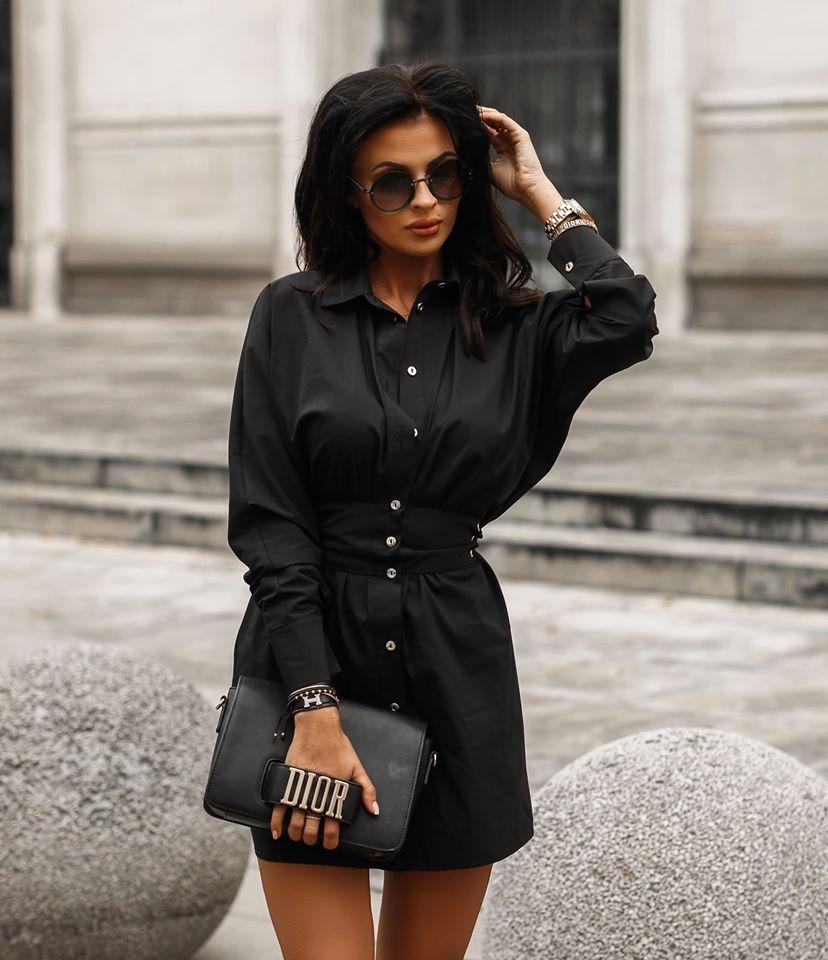 Dámske košeľové šaty,čierne (Dámske košeľové šaty,čierne)