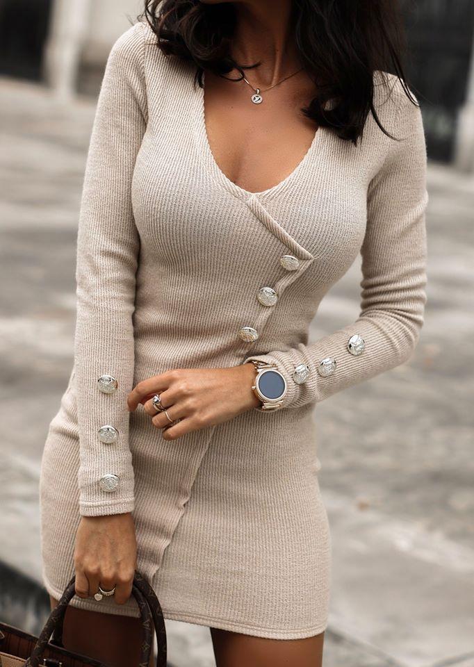 Dámske bežové úpletové šaty s dlhým rukávom (Dámske bežové úpletové šaty s dlhým rukávom)
