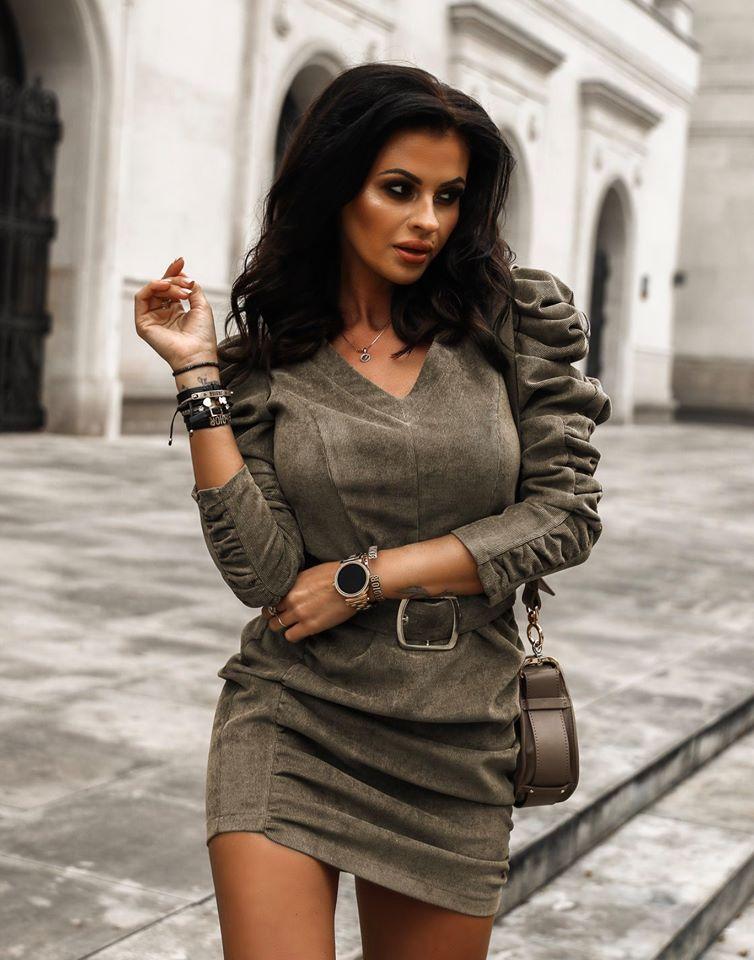 Dámske menčestrové šaty,khaki (Dámske menčestrové šaty,khaki)