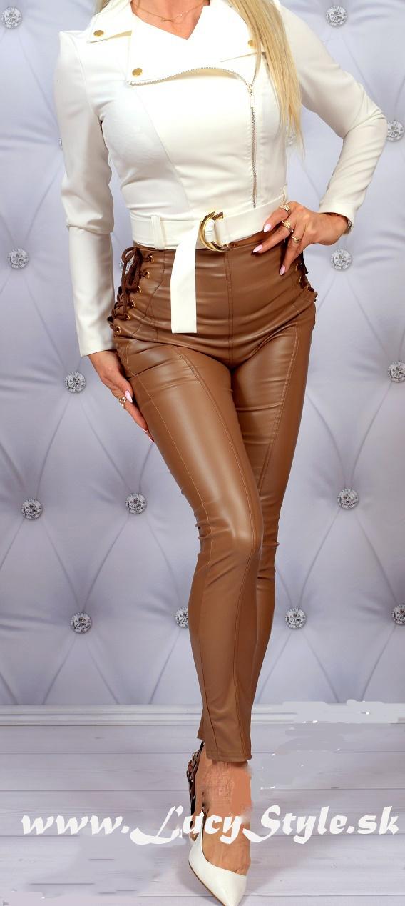 Dámske nohavice s vysokým pásom (Dámske koženkové nohavicové leginy s vysokým pásom)