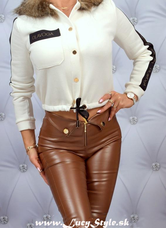 Dámske koženkové nohavice,hnedé (Dámske koženkové nohavice,hnedé)