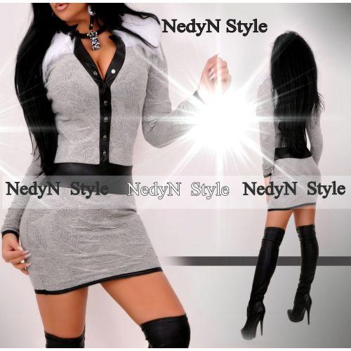 Dámske sivé šaty s dlhým rukávom (Dámske sivé šaty s dlhým rukávom)